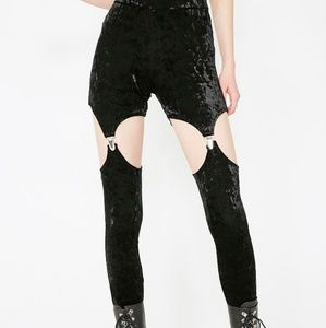 New Killstar Black Velvet Goth Nina Garter Legging